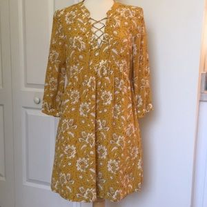 Madewell Assam Floral Silk Dress Yellow Small